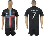 Wholesale Cheap Portugal #7 Ronaldo Black Training Soccer Country Jersey