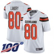Wholesale Cheap Nike Browns #80 Jarvis Landry White Men's Stitched NFL 100th Season Vapor Limited Jersey