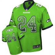 Wholesale Cheap Nike Seahawks #24 Marshawn Lynch Green Men's Stitched NFL Elite Drift Fashion Jersey