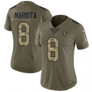 Wholesale Cheap Nike Raiders #8 Marcus Mariota Olive/Camo Women's Stitched NFL Limited 2017 Salute To Service Jersey