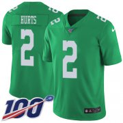 Wholesale Cheap Nike Eagles #2 Jalen Hurts Green Youth Stitched NFL Limited Rush 100th Season Jersey