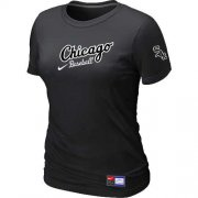 Wholesale Cheap Women's Chicago White Sox Nike Away Practice MLB T-Shirt Black