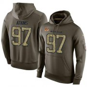 Wholesale Cheap NFL Men's Nike Cincinnati Bengals #97 Geno Atkins Stitched Green Olive Salute To Service KO Performance Hoodie