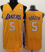 Wholesale Cheap Los Angeles Lakers #5 Carlos Boozer Yellow Swingman Jersey