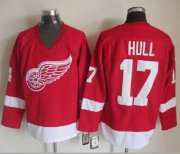 Wholesale Cheap Red Wings #17 Brett Hull Red CCM Throwback Stitched NHL Jersey