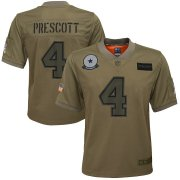 Wholesale Cheap Youth Dallas Cowboys #4 Dak Prescott Nike Camo 2019 Salute to Service Game Jersey