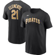 Wholesale Cheap Pittsburgh Pirates #21 Roberto Clemente Nike Cooperstown Collection Name & Number T-Shirt Black