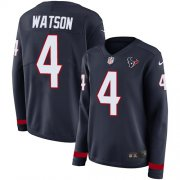 Wholesale Cheap Nike Texans #4 Deshaun Watson Navy Blue Team Color Women's Stitched NFL Limited Therma Long Sleeve Jersey