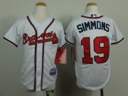 Wholesale Cheap Braves #19 Andrelton Simmons White Cool Base Stitched Youth MLB Jersey