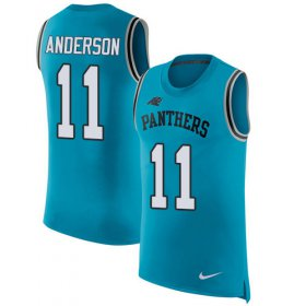 Wholesale Cheap Nike Panthers #11 Robby Anderson Blue Alternate Men\'s Stitched NFL Limited Rush Tank Top Jersey