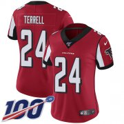 Wholesale Cheap Nike Falcons #24 A.J. Terrell Red Team Color Women's Stitched NFL 100th Season Vapor Untouchable Limited Jersey