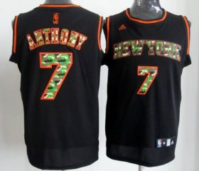 Wholesale Cheap New York Knicks #7 Carmelo Anthony Black Camo Fashion Jersey
