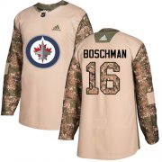 Wholesale Cheap Adidas Jets #16 Laurie Boschman Camo Authentic 2017 Veterans Day Stitched NHL Jersey