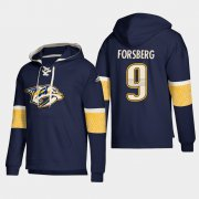 Wholesale Cheap Nashville Predators #9 Filip Forsberg Navy adidas Lace-Up Pullover Hoodie