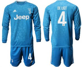 Wholesale Cheap Juventus #4 De Ligt Third Long Sleeves Soccer Club Jersey