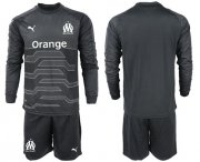 Wholesale Cheap Marseille Blank Black Goalkeeper Long Sleeves Soccer Club Jersey