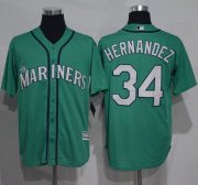 Wholesale Cheap Mariners #34 Felix Hernandez Green New Cool Base Stitched MLB Jersey