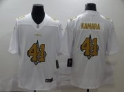 Wholesale Cheap Men's New Orleans Saints #41 Alvin Kamara White 2020 Shadow Logo Vapor Untouchable Stitched NFL Nike Limited Jersey