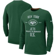 Wholesale Cheap Men's New York Jets Nike Green 2019 Salute to Service Sideline Performance Long Sleeve Shirt