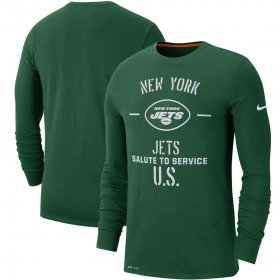 Wholesale Cheap Men\'s New York Jets Nike Green 2019 Salute to Service Sideline Performance Long Sleeve Shirt