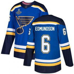 Wholesale Cheap Adidas Blues #6 Joel Edmundson Blue Home Authentic Stanley Cup Champions Stitched NHL Jersey