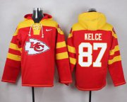 Wholesale Cheap Nike Chiefs #87 Travis Kelce Red Player Pullover NFL Hoodie