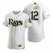 Wholesale Cheap Tampa Bay Rays #12 Wade Boggs White Nike Men's Authentic Golden Edition MLB Jersey