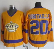 Wholesale Cheap Kings #20 Luc Robitaille Yellow/Purple CCM Throwback Stitched NHL Jersey