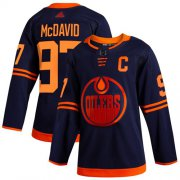Wholesale Cheap Adidas Oilers #97 Connor McDavid Navy Alternate Authentic Stitched NHL Jersey
