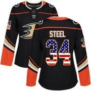 Wholesale Cheap Adidas Ducks #34 Sam Steel Black Home Authentic USA Flag Women's Stitched NHL Jersey