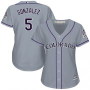 Wholesale Cheap Rockies #5 Carlos Gonzalez Grey Road Women's Stitched MLB Jersey