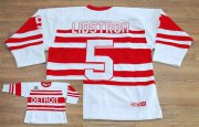 Wholesale Cheap Red Wings #5 Nicklas Lidstrom White CCM Throwback 75TH Stitched NHL Jersey