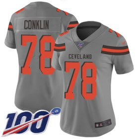 Wholesale Cheap Nike Browns #78 Jack Conklin Gray Women\'s Stitched NFL Limited Inverted Legend 100th Season Jersey