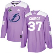 Cheap Adidas Lightning #37 Yanni Gourde Purple Authentic Fights Cancer Youth 2020 Stanley Cup Champions Stitched NHL Jersey