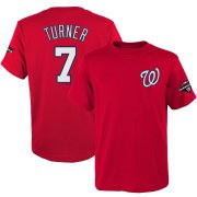 Wholesale Cheap Washington Nationals #7 Trea Turner Majestic Youth 2019 World Series Champions Name & Number T-Shirt Red