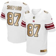 Wholesale Cheap Nike Giants #87 Sterling Shepard White Men's Stitched NFL Elite Gold Jersey