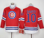 Wholesale Cheap Cubs #10 Ron Santo Red Long Sleeve Stitched MLB Jersey