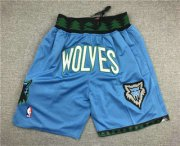 Wholesale Cheap Men's Minnesota Timberwolves 2003-04 Blue Just Don Shorts Swingman Shorts