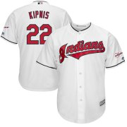Wholesale Cheap Cleveland Indians #22 Jason Kipnis Majestic Home 2019 All-Star Game Patch Cool Base Player Jersey White