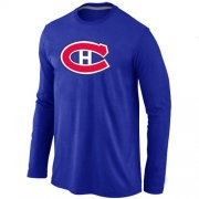 Wholesale Cheap NHL Montreal Canadiens Big & Tall Logo Long Sleeve T-Shirt Blue