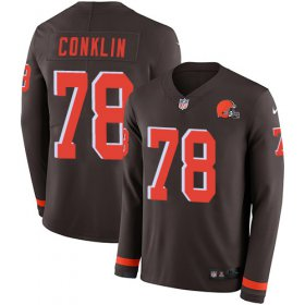 Wholesale Cheap Nike Browns #78 Jack Conklin Brown Team Color Youth Stitched NFL Limited Therma Long Sleeve Jersey
