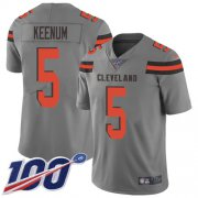 Wholesale Cheap Nike Browns #5 Case Keenum Gray Men's Stitched NFL Limited Inverted Legend 100th Season Jersey