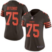 Wholesale Cheap Nike Browns #75 Joel Bitonio Brown Women's Stitched NFL Limited Rush Jersey