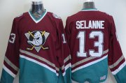 Wholesale Cheap Ducks #13 Teemu Selanne Red CCM Throwback Stitched NHL Jersey
