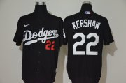 Wholesale Cheap Men's Los Angeles Dodgers #22 Clayton Kershaw Black Stitched MLB Cool Base Nike Jersey
