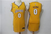Wholesale Cheap Nike Los Angeles Lakers #0 Kyle Kuzma Yellow Women Swingman Jersey