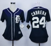 Wholesale Tigers #24 Miguel Cabrera Navy Blue Women's Fashion Stitched Baseball Jersey