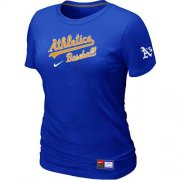 Wholesale Cheap Women's Oakland Athletics Nike Short Sleeve Practice MLB T-Shirt Blue