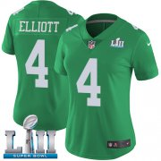 Wholesale Cheap Nike Eagles #4 Jake Elliott Green Super Bowl LII Women's Stitched NFL Limited Rush Jersey