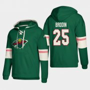 Wholesale Cheap Minnesota Wild #25 Jonas Brodin Green adidas Lace-Up Pullover Hoodie